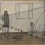 """Bernard Buffet (1928-1999). """"Femme au filet"""". Huile sur toile, 1948. Paris, musée d'Art moderne."""